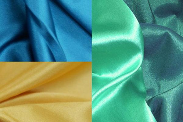 Разные цвета атласной ткани со стрейчем