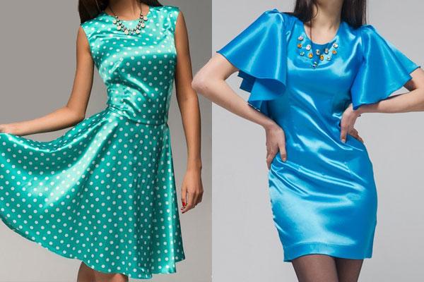 Блестящие атласные платья